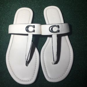 Women's White coach leather thong sandals size 7.5